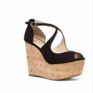 Zara Black Suede Cork Wedges